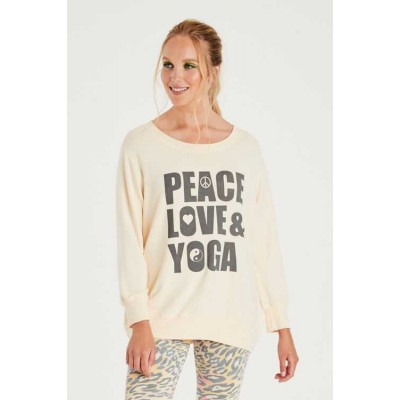 A Postcard From Brighton Peace Love and Yoga Sweat-cream