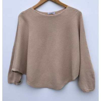 D.E.C.K. by DECOLLAGE Ribbed Soft Batwing Jumper-Beige