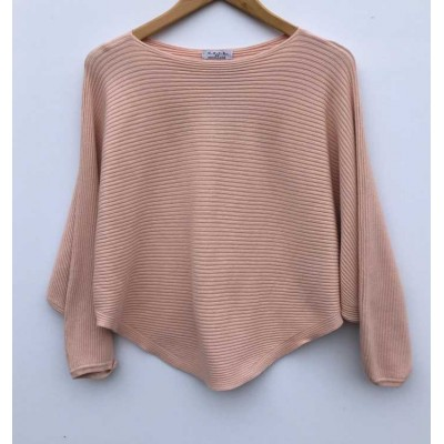 D.E.C.K. by DECOLLAGE Ribbed Soft Batwing Jumper-Soft Pink