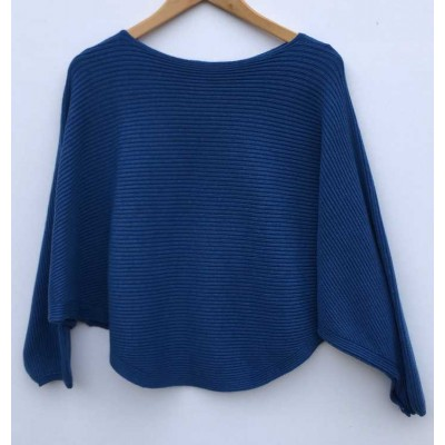 D.E.C.K. by DECOLLAGE Ribbed Soft Batwing Jumper-Blue