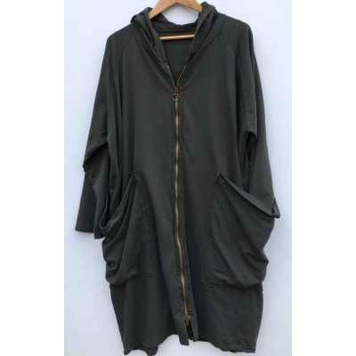 Zipped Hoodie-Charcoal