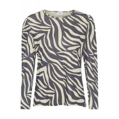 Saint Tropez Long Sleeve Slim Fit Zebra Blouse