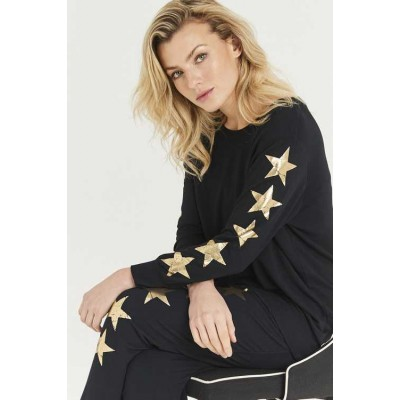 A Postcard From Brighton Starry Sleeve Gold Star Sweat (Black)