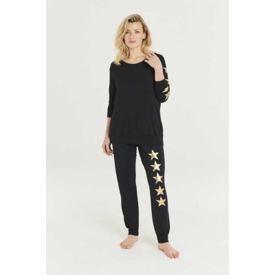 A Postcard From Brighton Gold Star Joggers (Black)