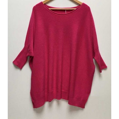 Oversized comfortable jumper – Fushia Pink