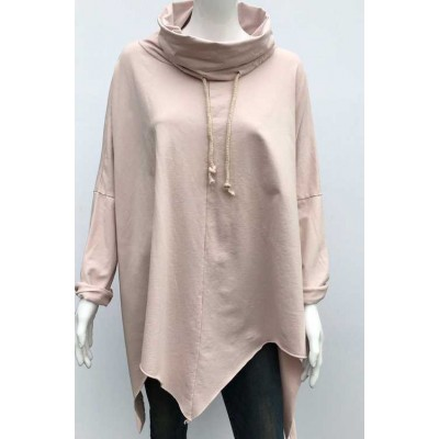 Cowl neck oversized sweat-pink