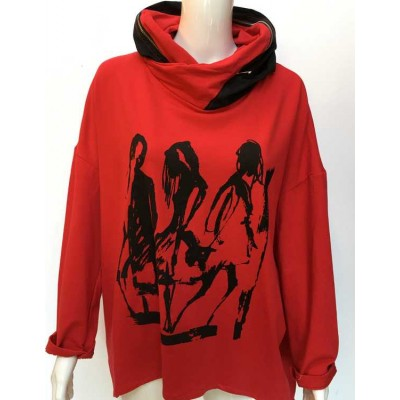 Image Hooded sweat top-Red
