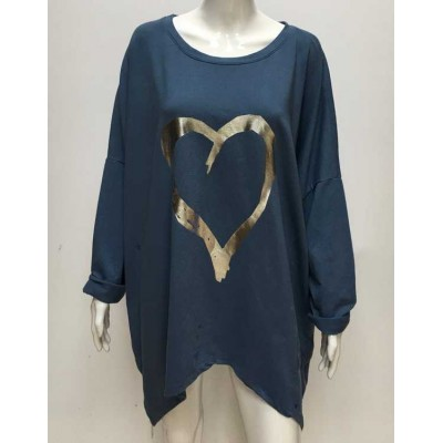 Silver Heart Sweat-Denim Blue