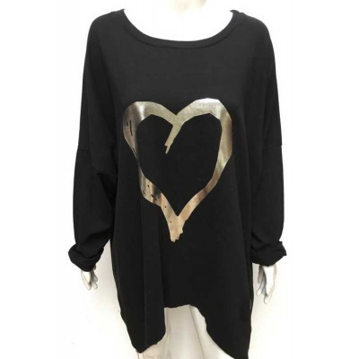 Silver Heart Sweat-Black