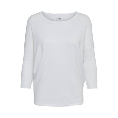 Saint Tropez knit with 3/4 rib sleeves (White)