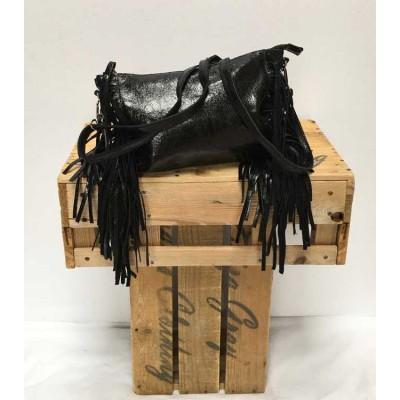 Leather fringed bag-black
