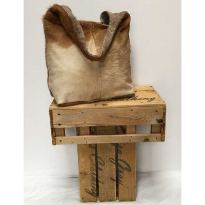 Real fur leather bag-brown haze