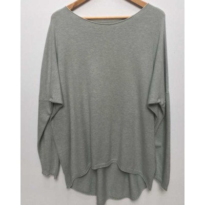 Fine knit dipped back soft Jumper-grey