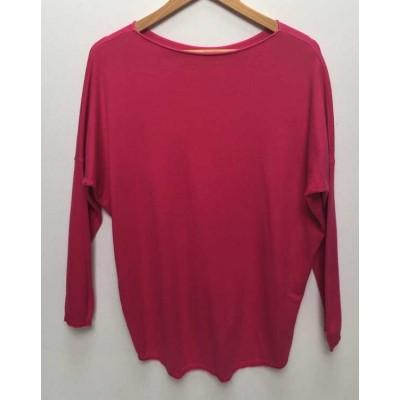 Fine knit dipped back soft Jumper-fuchsia