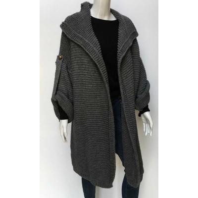 Chunky knit cardigan-grey
