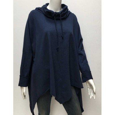 Cowl neck oversized sweat-navy