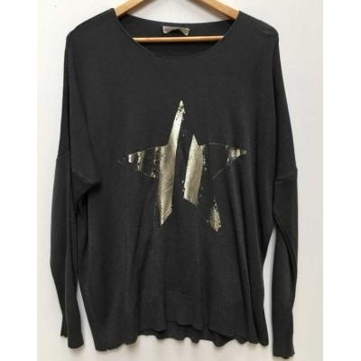 Fine knit star jumper - charcoal
