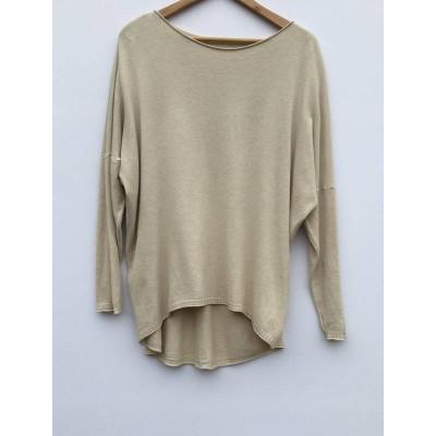 Fine knit dipped back soft Jumper - Beige
