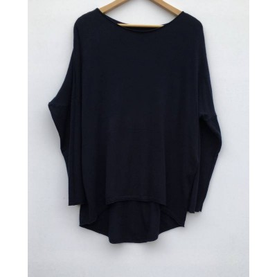 Fine knit dipped back soft Jumper -navy