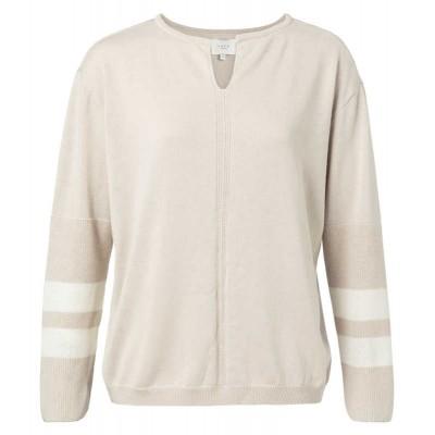 YAYA Mix knitted split V-neck sweater