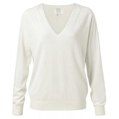 YAYA Cotton blend V-neck sweater-Cream