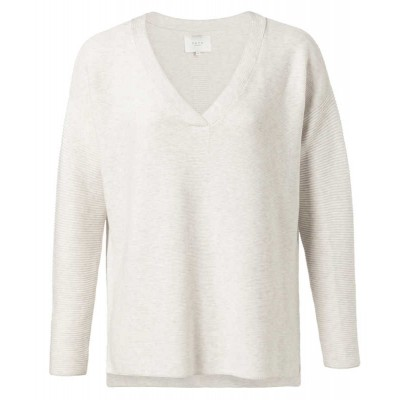 YAYA Cotton mix ribbed sweater with small splits on sides (Cream)