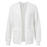 YAYA Cotton ribbed cardigan with front pockets