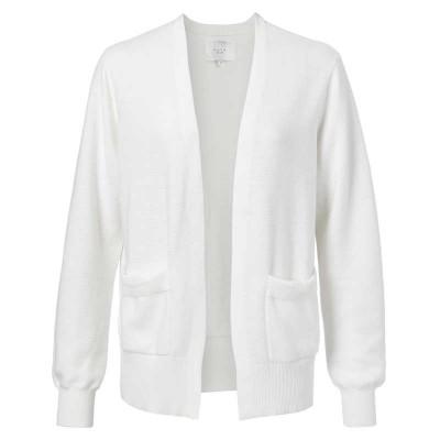 YAYA Cotton ribbed cardigan with front pockets
