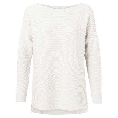 YAYA Cotton sweater with small splits on sides (Cream)
